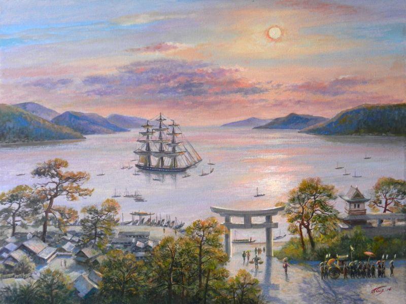 Фрегат «Паллада» в бухте Нагасаки.