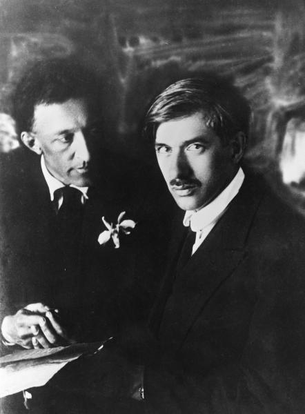 Александр Блок и Корней Чуковский на вечере Блока в Большом Драматическом театре
