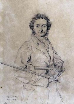 Никколо Паганини. Рисунок Жана Огюста Доминика Энгра, 1819 г
