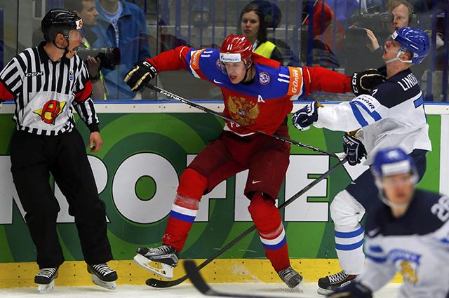 Матч сборных России и Финляндии на ЧМ-2015 по хоккею
