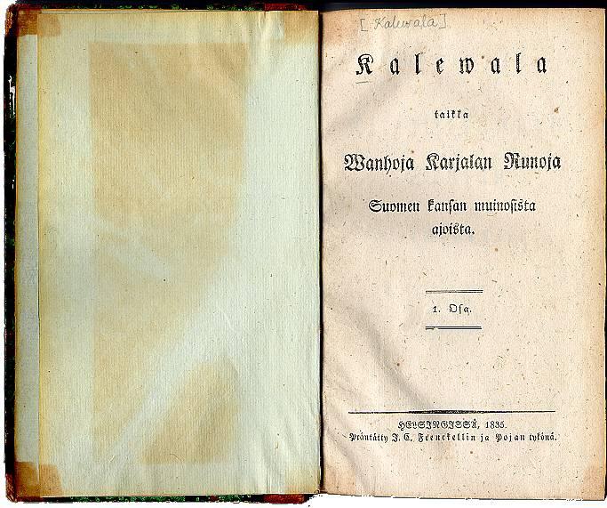Титульный лист первого издания «Калевалы» 1835 года