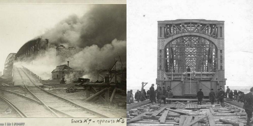 1. Пожар на мосту в июле 1914 года. 2. Работы велись и летом, и зимой.