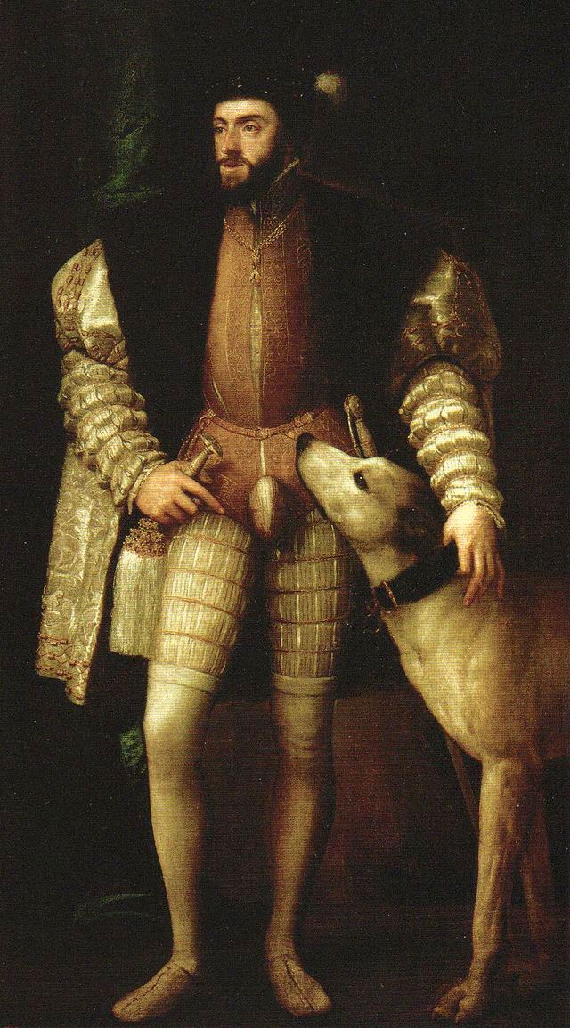 Тициан Портрет Карла V с его собакой . 1532 1533