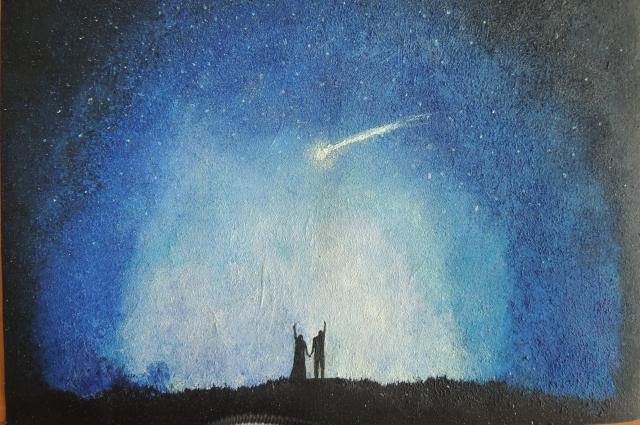 Одиннадцатиклассника нарисовала звездное небо.