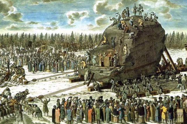 Действие машины для перевозки «Гром-камня». Гравюра по чертежам Юрия Фельтена. 1770 г.