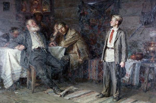 Репродукция картины художника Никиты Чебакова «Павлик Морозов» (1952 год).