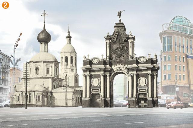 Первые триумфальные ворота на этом месте (ныне площадь Красные Ворота) построили после Полтавской битвы в 1709 г. Они были деревянными и горели дважды, пока в 1753-1757 гг. зодчий Д. Ухтомский не выстроил новые, каменные. Не зря ворота прозвали Красными, то есть красивыми, — они были расписаны под мрамор, украшены 8 золочёными статуями, и ещё одна статуя — Славы — венчала их сверху. Через них проходила дорога на Красное Село. Ворота уничтожили в 1927 г., чтобы расчистить дорогу для транспорта. А ещё через год снесли и стоявший рядом храм Трёх Святителей. На их месте так ничего и не построили.