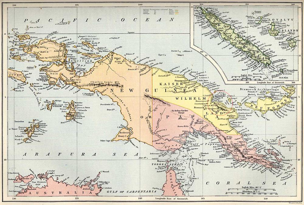 Карта Новой Гвинеи 1884 года с зонами аннексии. На германской территории обозначен и Берег Маклая.