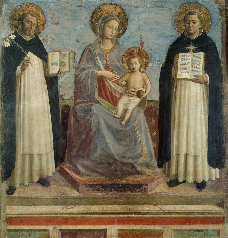 Фра Беато Анджелико. Мадонна с младенцем, святыми Домиником и Фомой Аквинским.