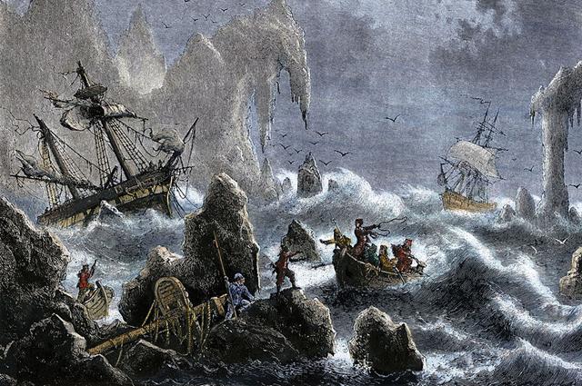 Экспедиция Витуса Беринга потерпела крушение на Алеутских островах в 1741 году.