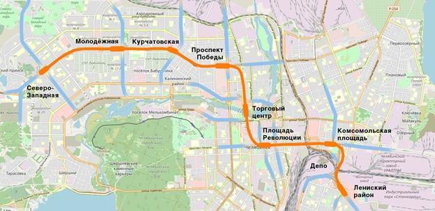 Схема линии метрополитена с учетом корректировки для выхода в Ленинский район