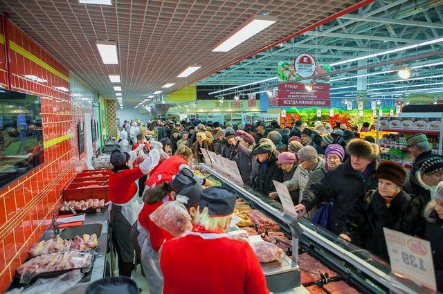 Рязанцы с удовльствием покупали в «Европе» мясную продукцию.