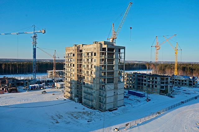 Строительство домов в городе Циолковский в Амурской области.