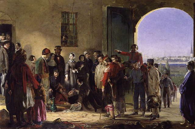 «Флоренс Найтингейл принимает раненых вСкутари». Картина Джерри Барретта.