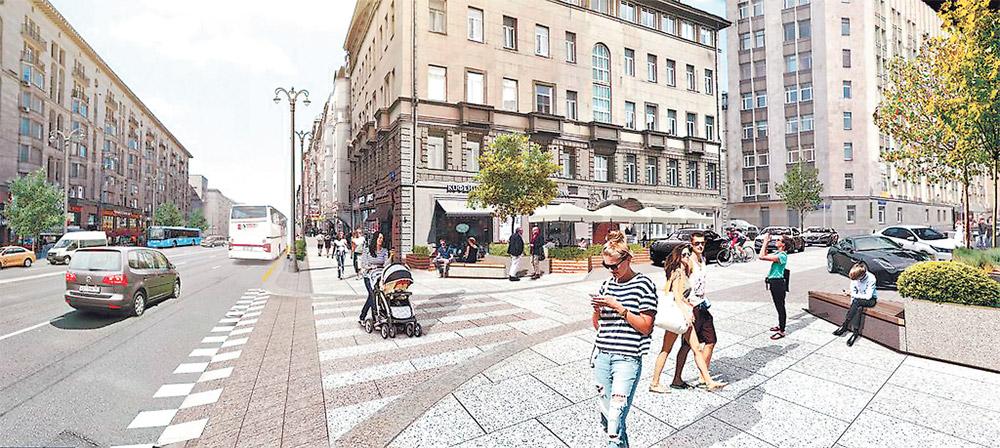 Вот как будет выглядеть пересечение 1-й Тверской-Ямской улицы и 1-го Тверского-Ямского переулка после реконструкции.