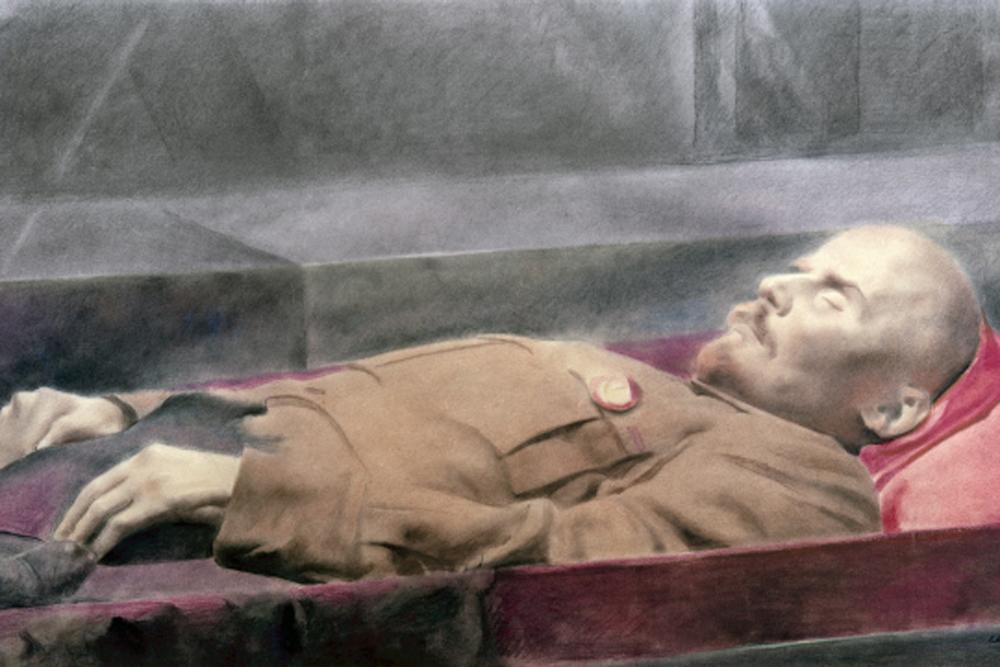 Репродукция картины В.И. Ленин в Мавзолее . Народный художник РCФСР Евгений Александрович Кацман. Центральный музей В.И. Ленина в Москве