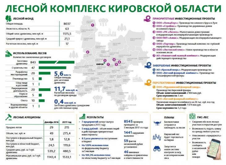 Лесной комплекс Кировской области. Инфографика.