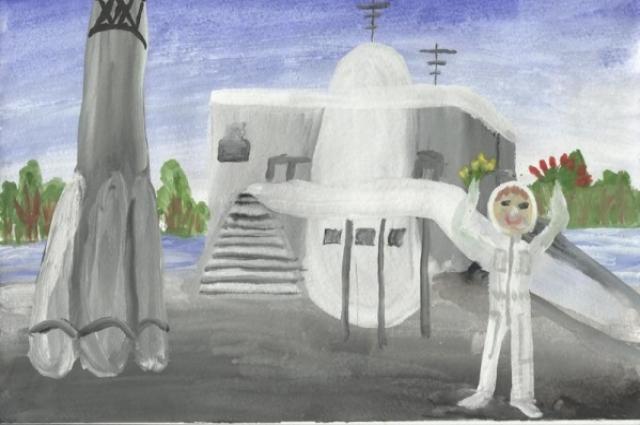 Рисунок, помещённый в капсулу, замурованную возле Музея космонавтики.