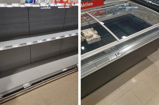 Немцы скупают продукты в местных супермаркетах.