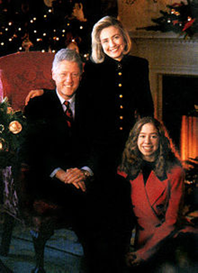 Семья Клинтонов в Белом доме.
