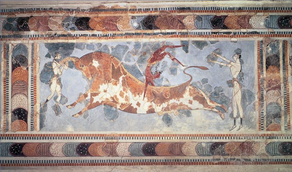Фреска, изображающая «игры с быками».