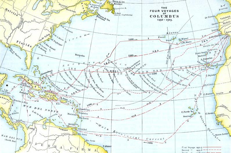 Карта четырёх экспедиций Колумба.