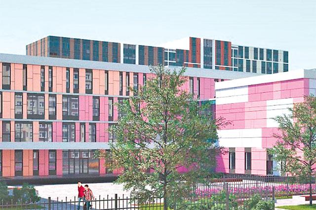 Трёхэтажное здание потакому проекту может трансформироваться как вшколу, так ив детский сад.