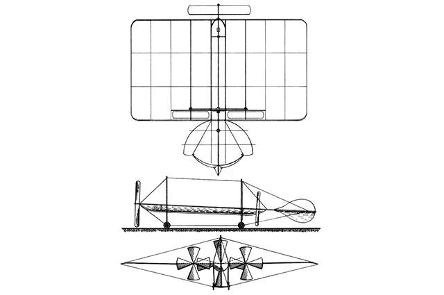Чертёж самолёта Можайского из «Привилегии» 1881 года.