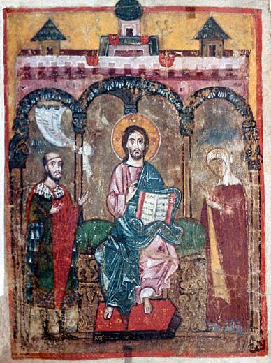 Михаил Ярославич и его мать Оксинья предстоят перед Христом на тверской миниатюре начала XIV века