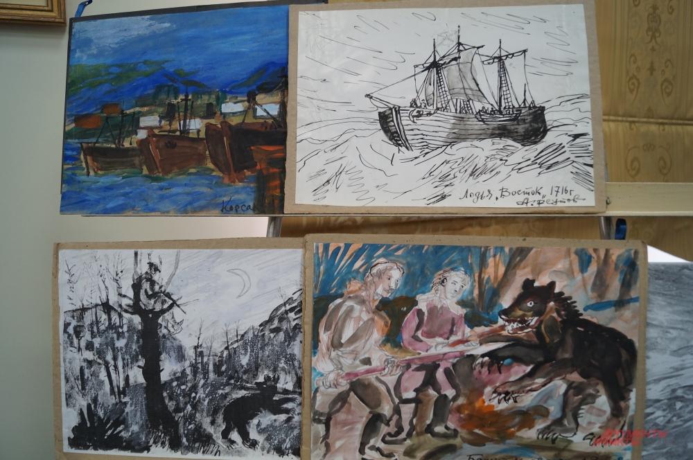 Реутов - автор сотни акварельных рисунков и полотен, написанных написанных в формате наивного искусства