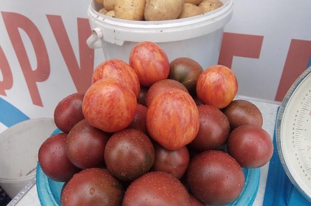 даже обычные помидоры здесь - необычные, а полосатые и темные.