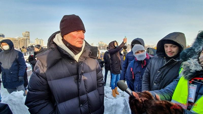 Евгений Ройзман пришел на акцию как простой горожанин