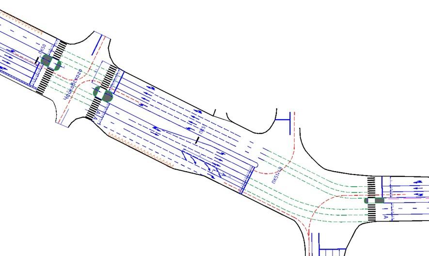 Проектируемая схема движения на пересечении с улицей Чайковского. Видна разная ширина островков и то, как они