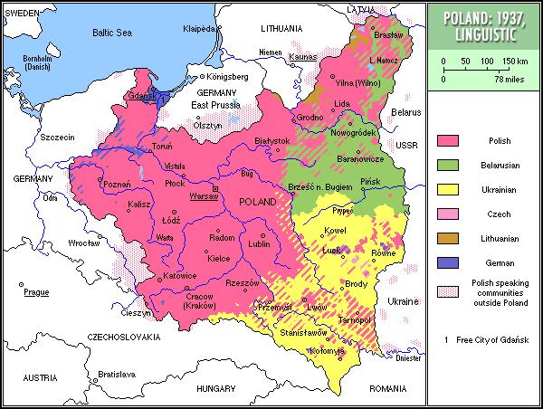 Карта распространения польского языка, 1937 г.