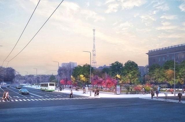 Сотрудники АБ «Проект» предлагают сократить проезжую часть до пяти полос в северной части площади, а вместо этого расширить тротуары.