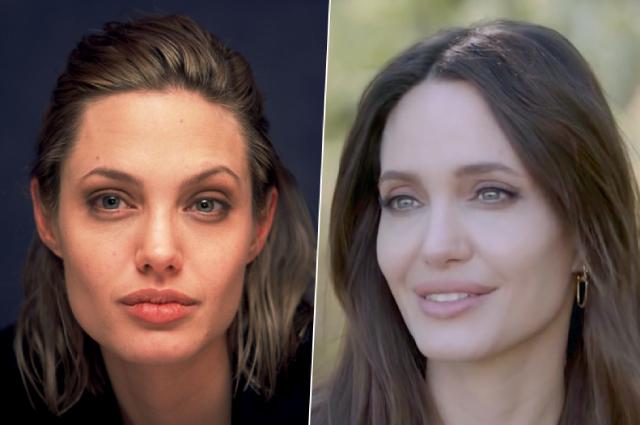 Анджелина Джоли в 2000 и 2021 гг.
