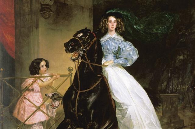 Карл Брюллов, «Всадница», 1832 г. Третьяковская галерея