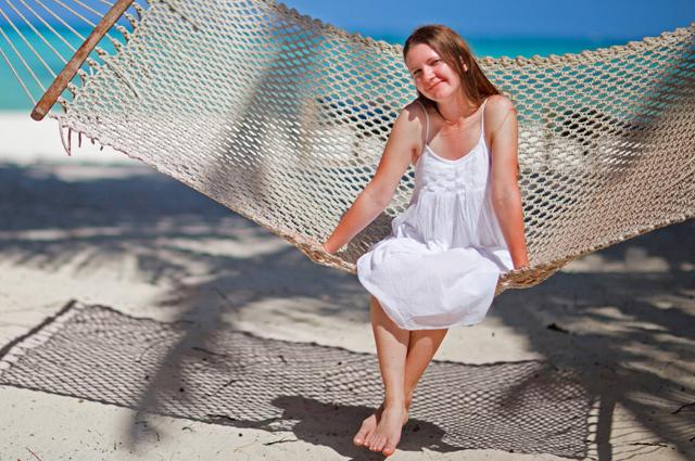 Гамак, пляж, отпуск, девушка