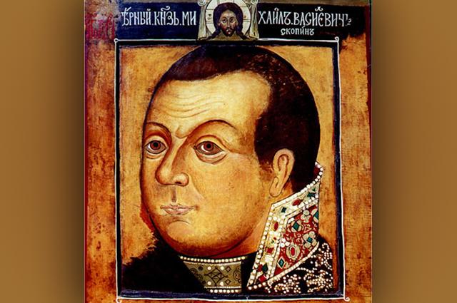 Князь Михаил Васильевич Скопин-Шуйский. Парсуна около 1630 года. Царские изографы. Оригинал находится в Государственной Третьяковской галерее.