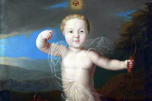 Царевич Пётр Петрович в образе Купидона на портрете работы Луи Каравака