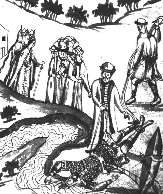 «Татарин Яныш, Бегишев внук, вытаскивает из реки тело Ермака», миниатюра из «Истории Сибирской» С. У. Ремезова