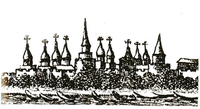 Корнелий де Бруин запечатлел башню в 1703 году.