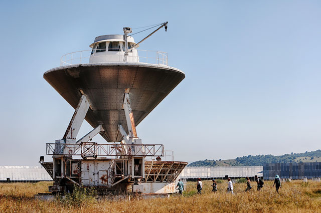 Приемная кабина радиотелескопа «РАТАН 600», расположенного натерритории Специальной астрофизической обсерватории Российской академии наук.