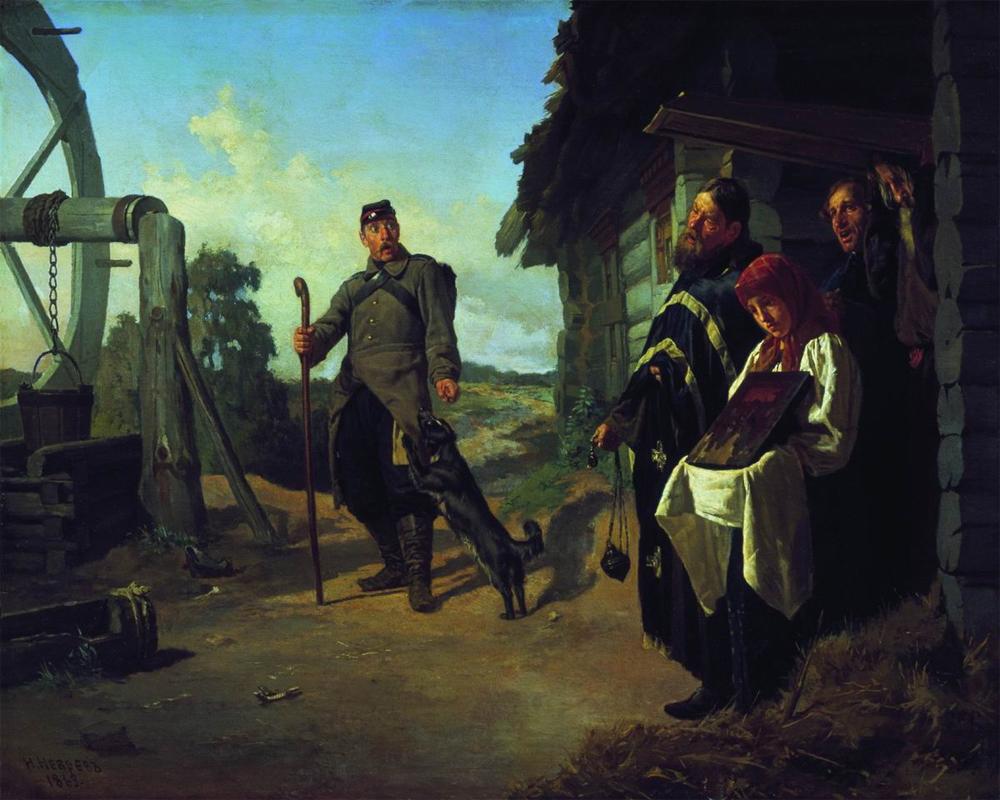 «Возвращение солдата на родину». Художник Н. Неврев (1869)