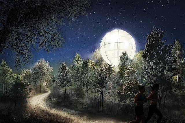 уникальный световой шар как элемент узнаваемости места.