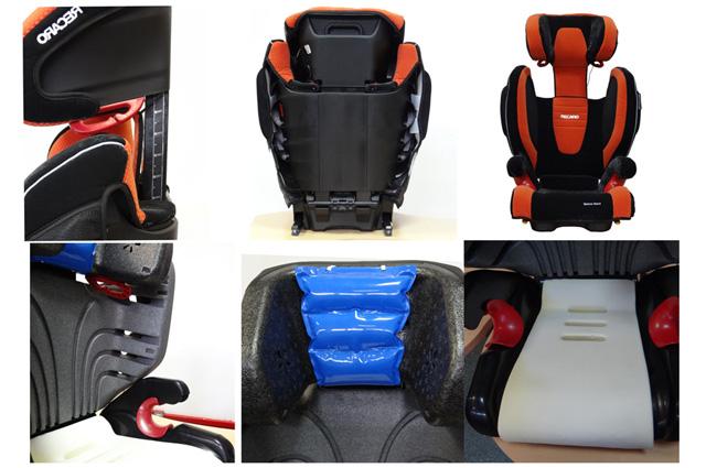 Пример одного из последних поколений автокресел: у него надёжное жёсткое сиденье, регулируется высота спинки, 3-х камерная система подкачивания подголовника, усовершенствованные боковые поддержки с вентиляционными каналами