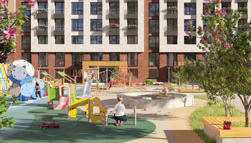 В наших дворах резиновое покрытие, дизайнерские детские городки и спортивные площадки на любой вкус, в том числе зоны для воркаута.