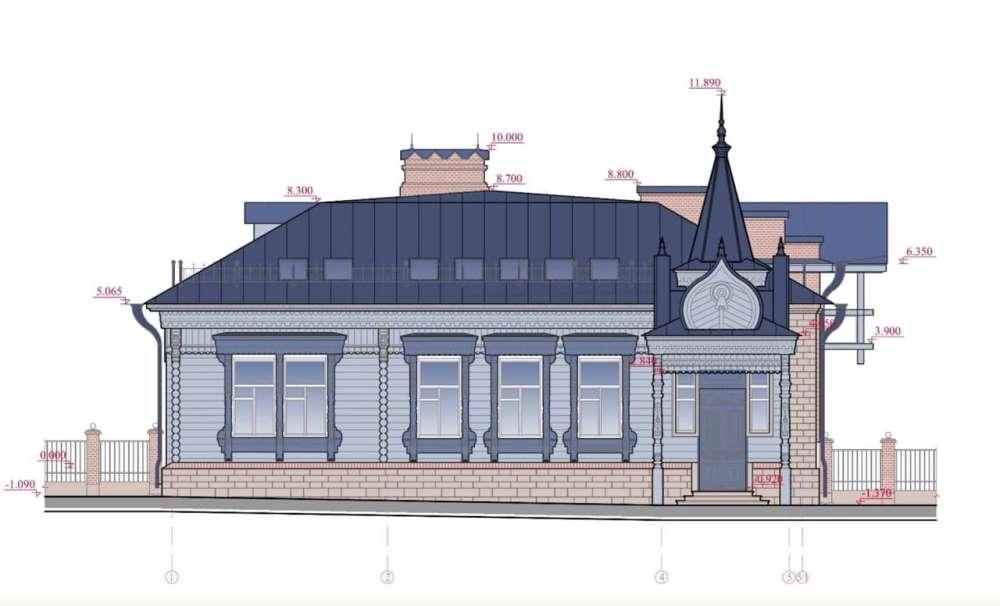 Эскиз фасада дома.