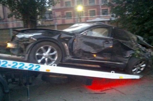 Infiniti Олеси Сиваковой после аварии.