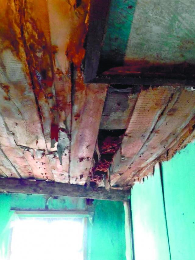 На потолке прогнили доски и могут свалиться на голову.